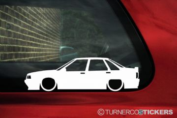 2x Low car outline stickers - Renault 21 Turbo saloon
